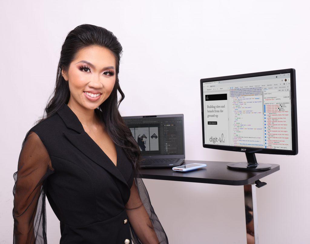 Female web developer elizabeth tran model coder